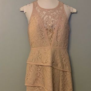 NWOT. Beautiful mauve lace bodycon mini dress.